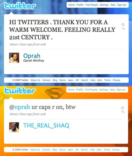 Oprah Winfrey's first tweet and one of the responses